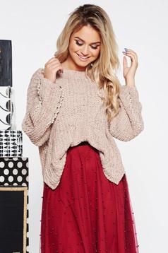 Pulover SunShine crem casual cu croi larg din material tricotat catifelat cu aplicatii cu perle