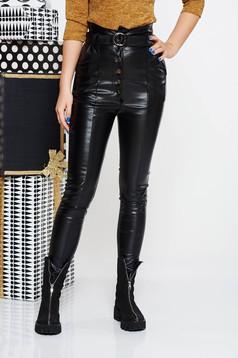 Pantaloni SunShine negri casual cu talie inalta din piele ecologica accesorizati cu cordon