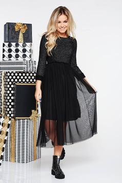 Rochie SunShine neagra casual midi din material tricotat cu fir lame si tul captusita pe interior
