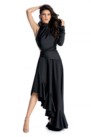 Rochie Ana Radu neagra de lux asimetrica din material satinat accesorizata cu cordon
