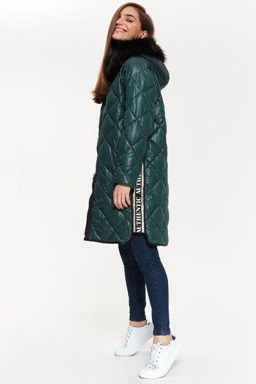 Geaca Top Secret verde din fas cu maneca lunga cu croi larg din material matlasat accesorizata cu blana ecologica