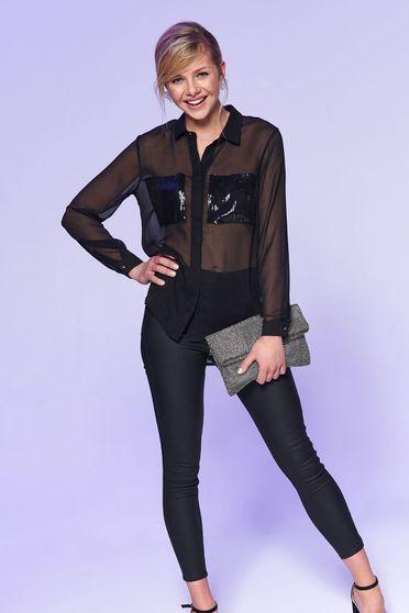 Camasa dama Top Secret neagra cu croi larg cu maneca lunga din material transparent