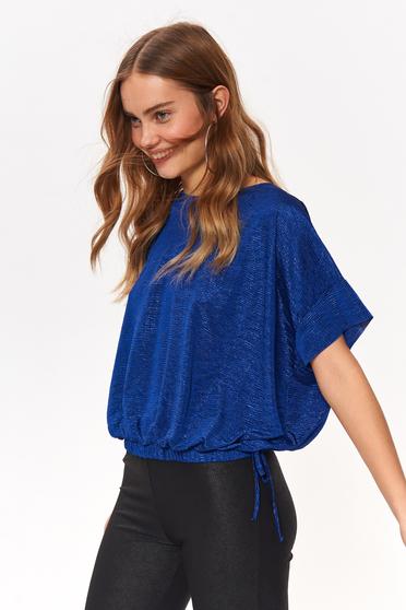 Bluza dama Top Secret albastra casual cu croi larg cu maneca scurta cu snur in talie