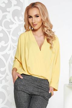 Bluza dama Fofy galbena eleganta cu croi larg din voal petrecuta cu decolteu in v