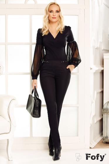 Pantaloni Fofy negri office conici cu talie medie din stofa usor elastica cu buzunare si aplicatii metalice