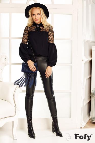 Bluza dama Fofy neagra eleganta cu croi larg cu aplicatii de dantela si maneci bufante