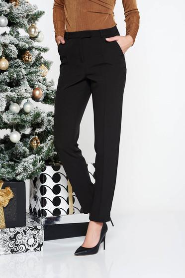Pantaloni StarShinerS negri office conici cu talie medie din stofa usor elastica cu buzunare