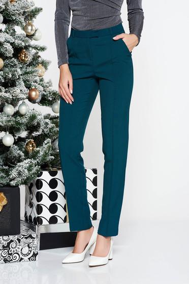 Pantaloni StarShinerS verde inchis office conici cu talie medie din stofa usor elastica cu buzunare