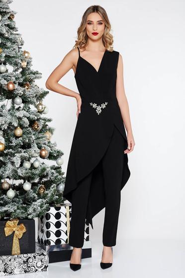 Salopeta PrettyGirl neagra de ocazie asimetrica din stofa usor elastica accesorizata cu pietre stras
