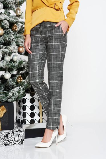 Pantaloni PrettyGirl gri office conici cu talie medie din stofa neelastica cu fir lame cu buzunare