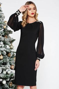 Rochie LaDonna neagra eleganta midi tip creion din stofa usor elastica captusita pe interior cu insertii de broderie