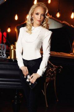 Camasa dama Fofy alba eleganta cu un croi mulat din bumbac usor elastic cu aplicatii de dantela