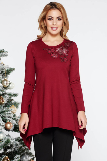 Bluza dama LaDonna visinie eleganta asimetrica cu croi larg din material usor elastic cu insertii de broderie