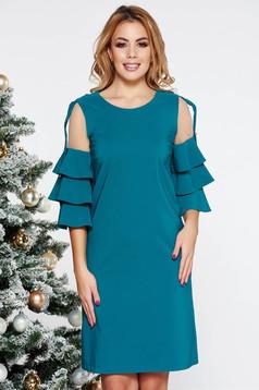 Rochie LaDonna turcoaz eleganta cu un croi drept din stofa usor elastica captusita pe interior cu aplicatii de tul