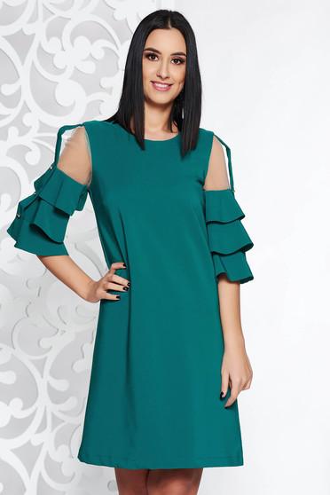 Rochie LaDonna Verde eleganta cu un croi drept din stofa usor elastica captusita pe interior cu aplicatii de tul