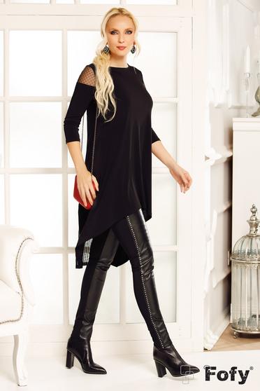 Bluza dama Fofy neagra casual lunga asimetrica cu croi larg din material usor elastic
