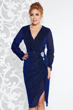 Rochie Artista albastra de ocazie midi din material lucios cu decolteu in v accesorizata cu brosa