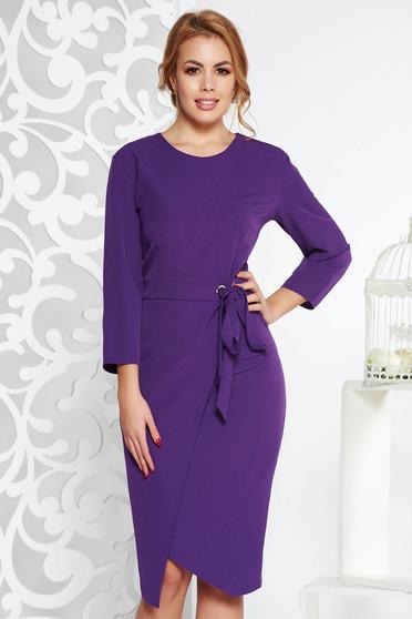 Rochie mov eleganta tip creion din stofa subtire usor elastica accesorizata cu cordon