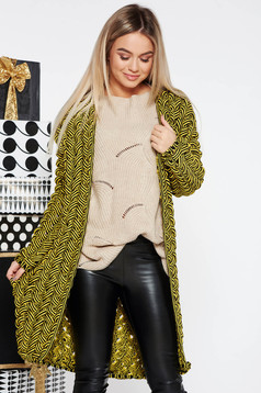 Cardigan SunShine galben casual cu croi larg din material tricotat