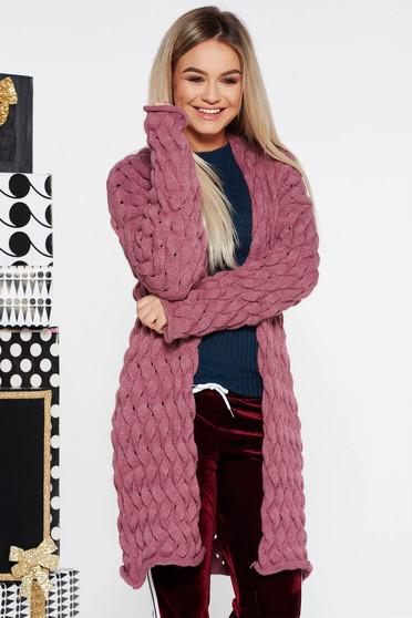 Cardigan SunShine mov casual cu croi larg tricotat din bumbac