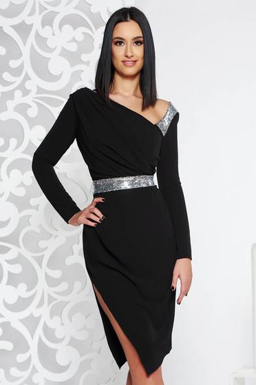 Rochie neagra de ocazie midi tip creion din stofa usor elastica captusita pe interior accesorizata cu cordon