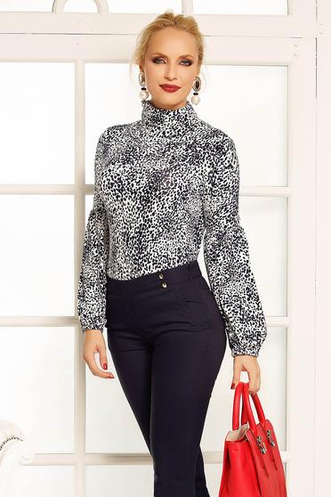 Bluza dama Fofy alba office cu un croi mulat pe gat din bumbac elastic