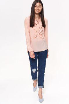 Bluza dama Top Secret rosa casual cu croi larg din material usor transparent cu volanase
