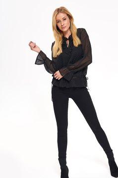 Bluza dama Top Secret neagra casual cu croi larg din material usor transparent captusita pe interior cu volanase