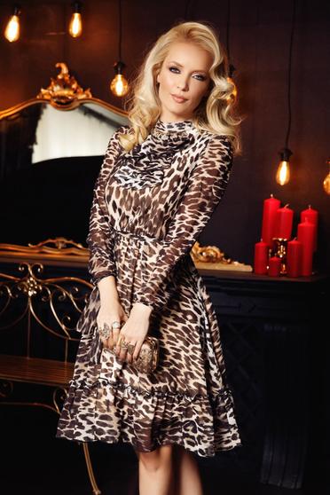 Rochie Fofy neagra eleganta in clos din voal cu animal print captusita pe interior cu volanase