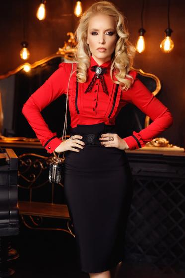 Camasa dama Fofy rosie office cu un croi mulat din bumbac cu aplicatii de dantela