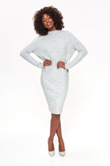 Rochie Top Secret gri-deschis de zi midi cu croi larg din material tricotat cu maneci lungi