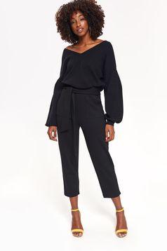 Pulover Top Secret negru casual cu croi larg din material fin la atingere cu decolteu in v