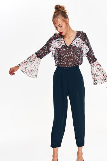 Bluza dama Top Secret neagra casual cu croi larg din material usor transparent cu maneci clopot