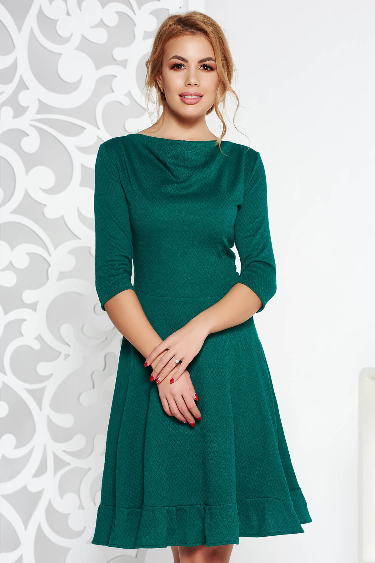 Rochie StarShinerS verde office midi in clos din material elastic cu maneci trei-sferturi