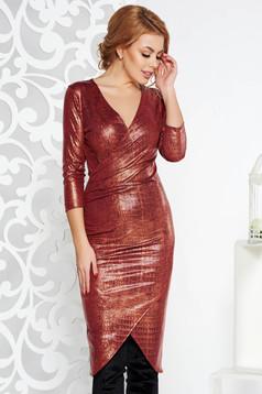 Rochie StarShinerS rosie de party midi cu un croi mulat din material lucios cu decolteu in v