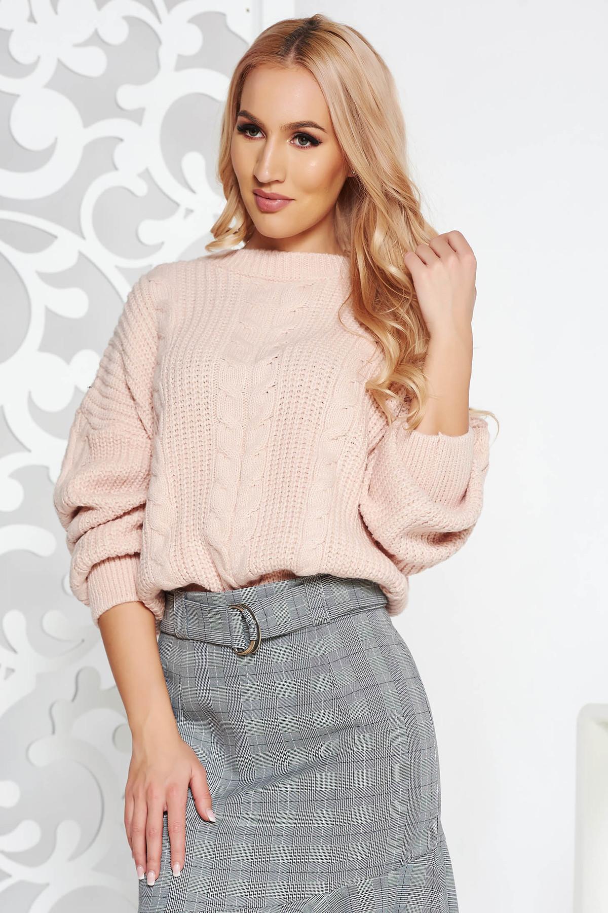 Pulover rosa casual scurt din material tricotat cu croi larg