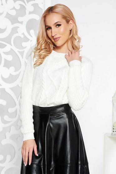 Pulover alb casual scurt din material tricotat cu croi larg