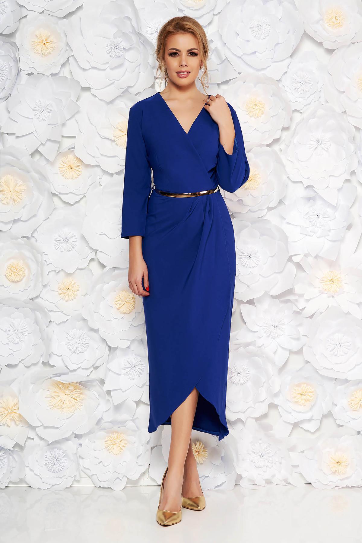 Rochie albastra eleganta din stofa subtire usor elastica captusita pe interior cu accesoriu tip curea