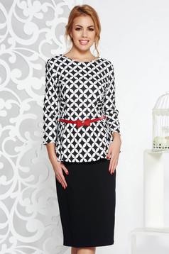 Rochie neagra eleganta din bumbac usor elastic cu peplum cu accesoriu tip curea