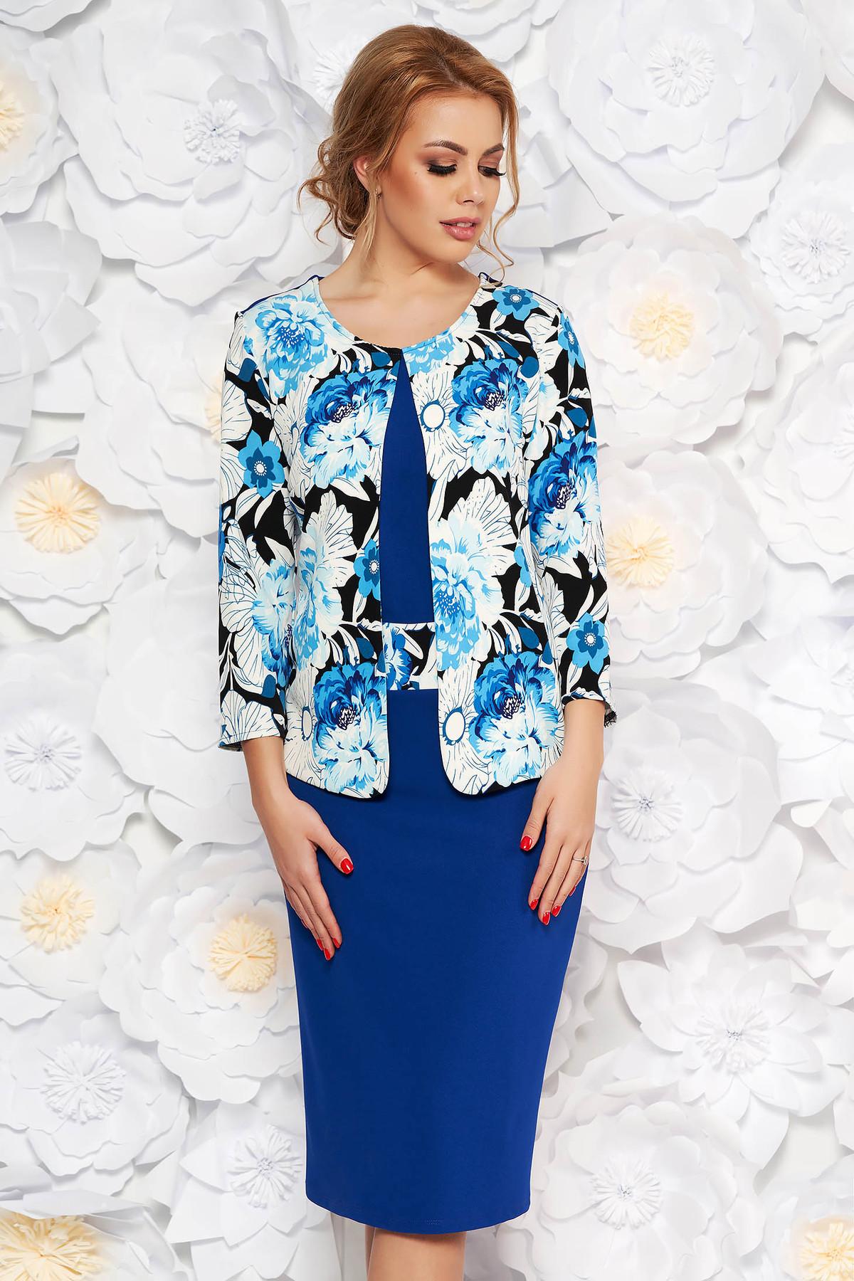 Rochie albastra eleganta midi tip creion din material usor elastic cu imprimeuri florale