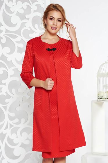 Compleu rosu elegant din bumbac usor elastic cu rochie