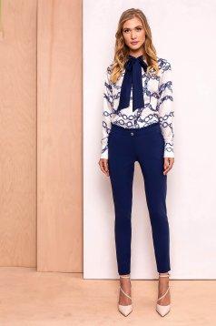 Pantaloni albastri-inchis PrettyGirl eleganti cu talie inalta din stofa usor elastica cu volanase
