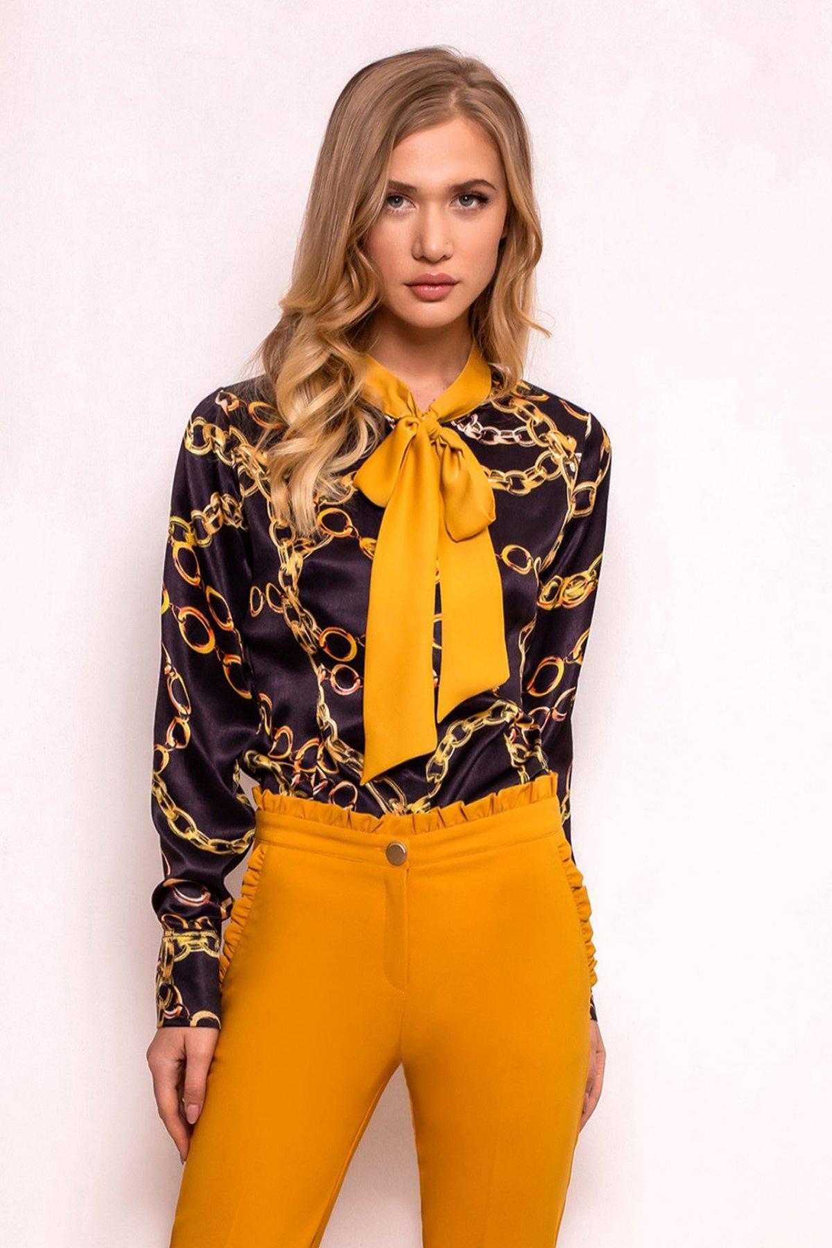 Bluza dama PrettyGirl neagra office cu croi larg din material satinat cu imprimeuri grafice cu guler tip esarfa