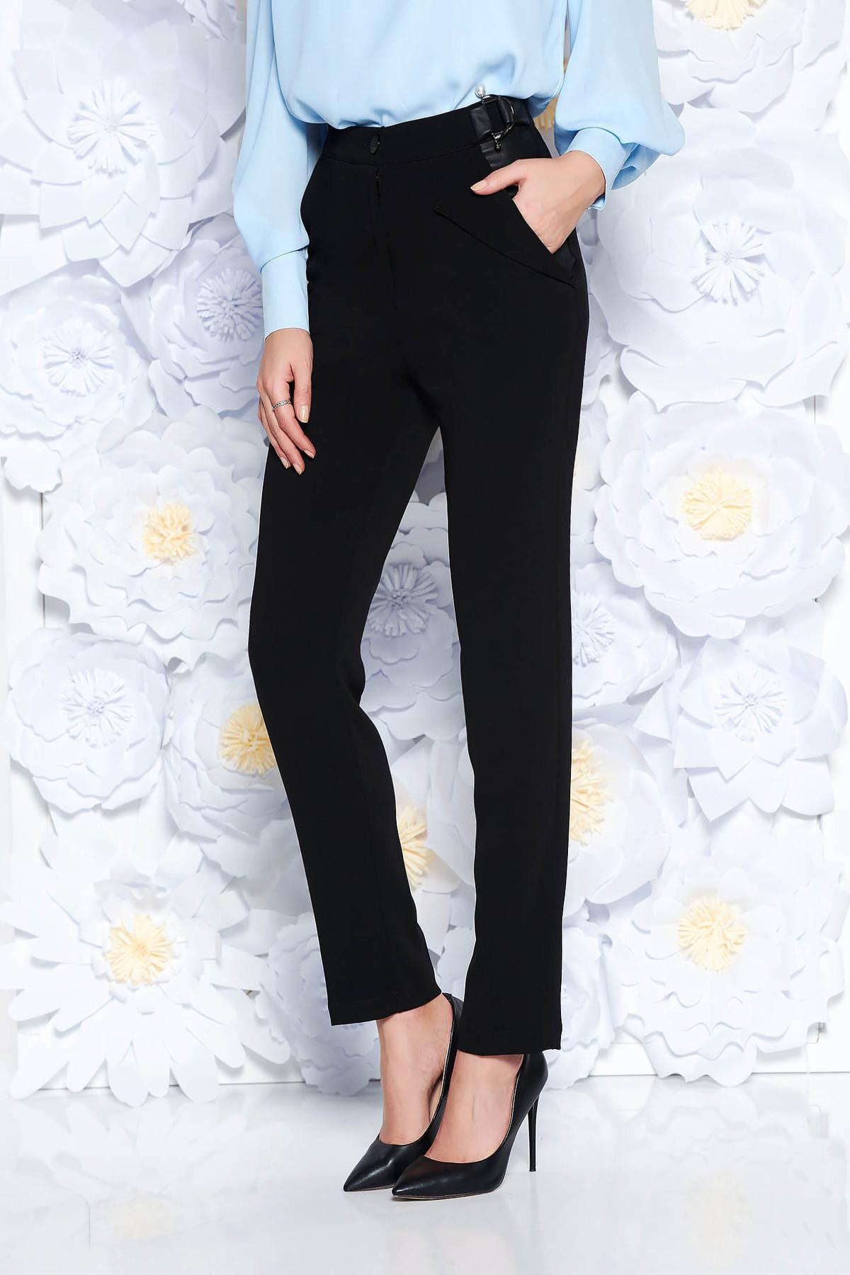 Pantaloni PrettyGirl negri office conici cu talie inalta din stofa usor elastica cu buzunare