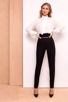 Pantaloni PrettyGirl negri eleganti cu talie inalta din stofa usor elastica cu aplicatii metalice aurii