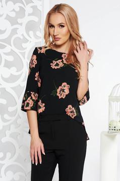 Bluza dama StarShinerS neagra eleganta cu croi larg din stofa neelastica cu maneci trei-sferturi