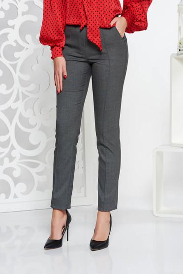 Pantaloni StarShinerS gri office conici cu talie medie din stofa usor elastica cu buzunare