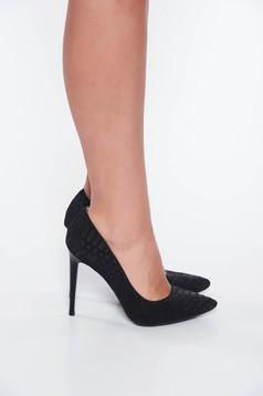 Pantofi negru din piele naturala cu varful usor ascutit piele texturata
