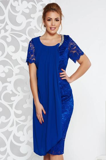 Rochie albastra de ocazie tip creion din voal si dantela captusita pe interior cu aplicatii stralucitoare