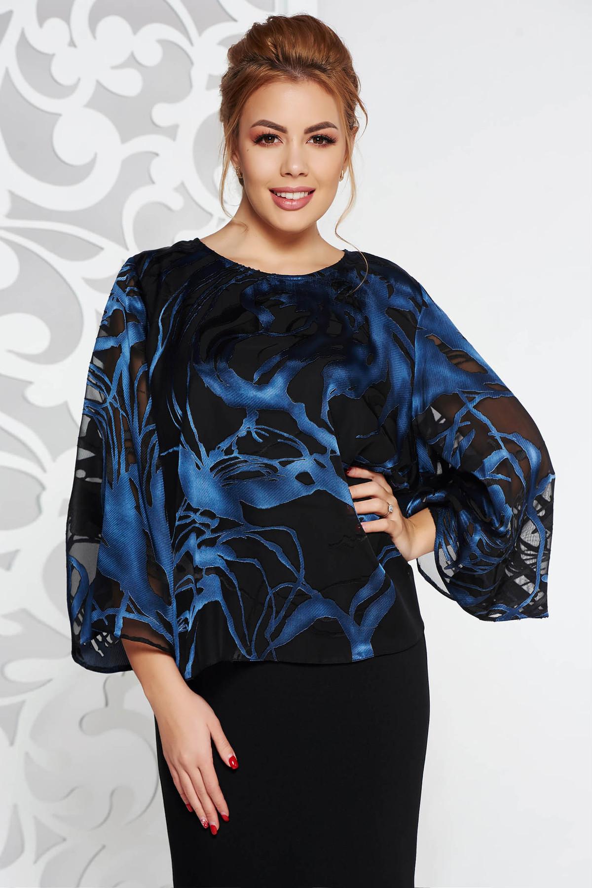 Bluza dama albastra-inchis eleganta cu croi larg din voal cu imprimeu floral maneci largi